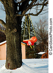 Snow Covered Baby Swing
