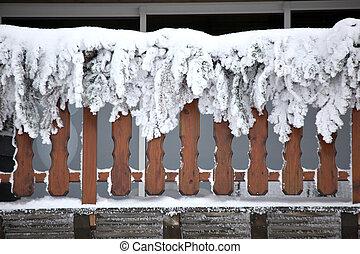 Snow covered balcony