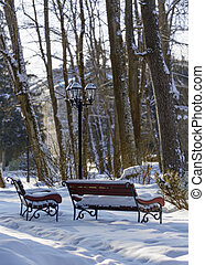 Snow-covered benches and vintage street light in the park