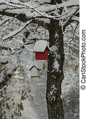 Snow Covered Birdhouses Close-up