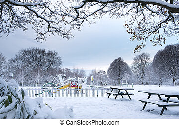 Snow Covered Children Playground in Grove Park