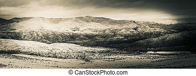 Snow Covered Desert Landscape