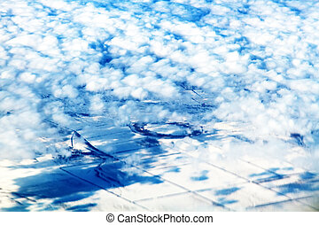 snow-covered field. aerial photography of winter ...