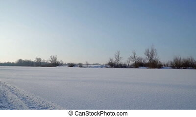 Snow-covered field, bushes and trees - Winter landscape. A...