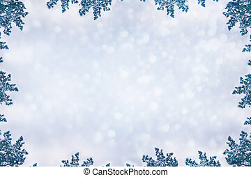 Snow-covered fir branches. Winter christmas background.