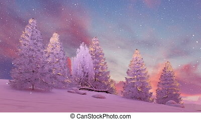 Snow covered firs under scenic sunset sky 4K - Dreamlike...
