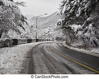 Snow-covered forest road in Seoraksan mountains. South Korea.