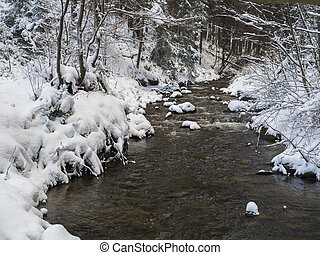 snow covered forest water stream creek with trees, branches and stones, idyllic winter landscape in golden hour sun light.