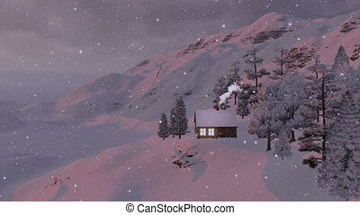 Evening view of the snowbound spruces and little cabin in the mountains. Realistic three dimensional animation.