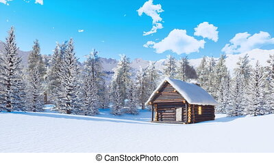 Snow covered log cabin in mountains at winter day