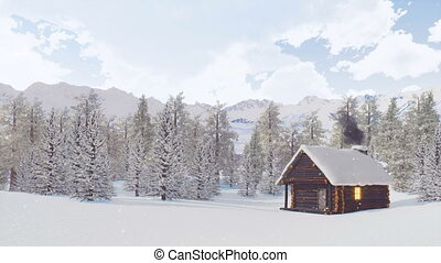 Snow covered mountain hut at snowfall winter day - Snow...