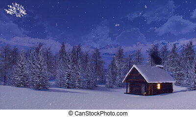 Snow covered mountain hut at snowfall winter night