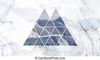 Snow covered mountain through triangular shaped foreground...