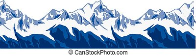 Snow-covered mountains ranges. SEAMLESS ENDLESS vector...