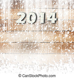 Snow-covered Paper numbers of new 2014 with confetti on an abstract background