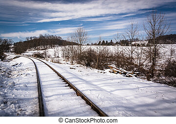 Snow covered railroad tracks in rural Carroll County,...