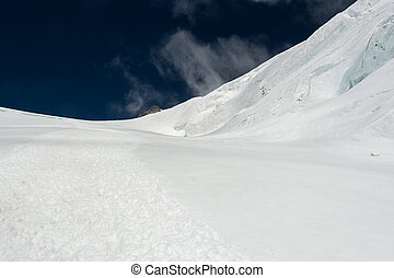 Snow covered ridge. Glacier covered with slope, Monte Rosa...