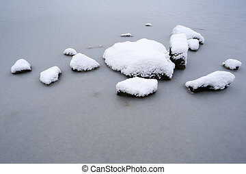 Snow covered rocks in frozen lake.