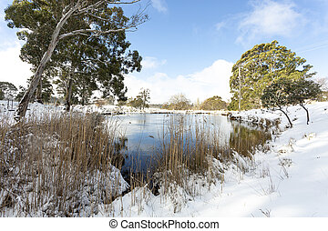 Snow covered rural field with watering hole