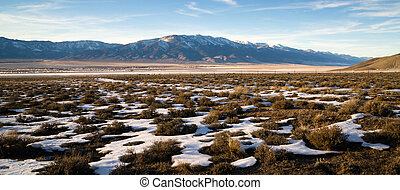 Snow Covered Sage Brush Mountain Landscape Surrounding Great
