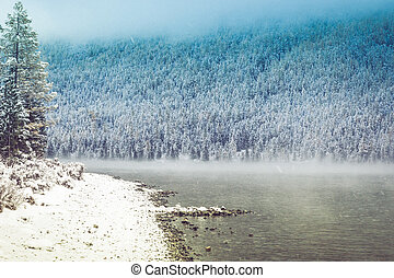 Snow covered shore of a mountain lake. View of the rocks and pine forest in late autumn.