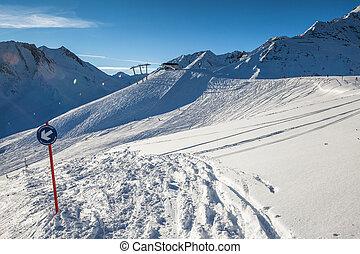 ski slope - snow covered ski slope
