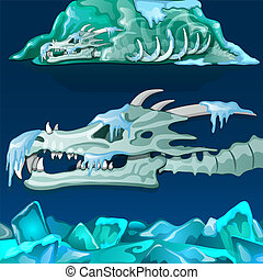 Snow-covered skull of dragon isolated on blue background. Vector illustration.