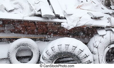 Snow covered tires - On a background snow-covered snow tires...