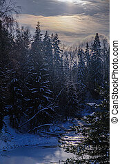 Snow-covered trees and small river in the winter forest at dawn. beautiful winter landscape.