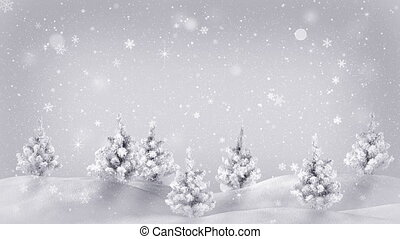 snow covered trees christmas animation loop - snow covered...