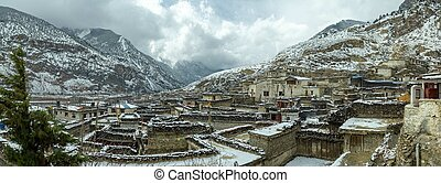 Snow Covered Village in Nepal
