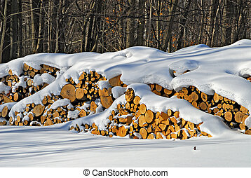 Snow Covered Woodpile - Wood pile covered in winter snow