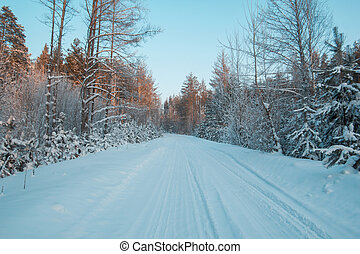 Snow covered woods in winter ural forest - empty road at sunset, horizontal