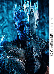 snow covered zombie - Halloween. The King zombie warrior in...