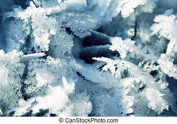 Snow cristal closeup - Winter, cold evening after new year...
