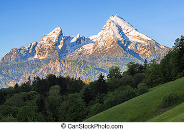Snow-crowned Watzmann mount in famous Bavarian national park...