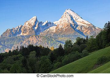 Snow-crowned Watzmann mount in famous Bavarian national park Berchtesgaden