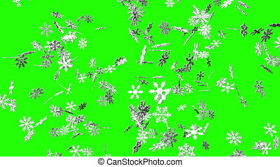Snow crystals on green chroma key. Loop able 3DCG render...