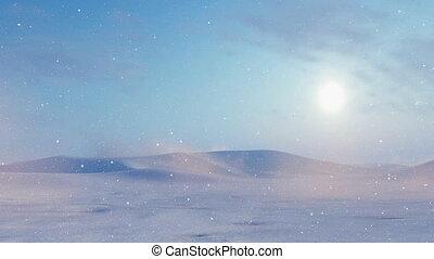 Snow desert landscape at snowstorm - Evening sun over snowy...