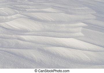 Snow Drift - Snow drift sculpted by strong winter blizzard.