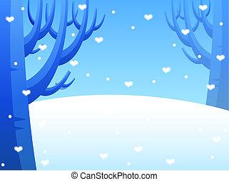Snow Drifts - Heart shaped snowflake ,winter snow scene,...