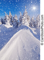 Snow dunes - Sunny winter landscape with snow dunes in a...