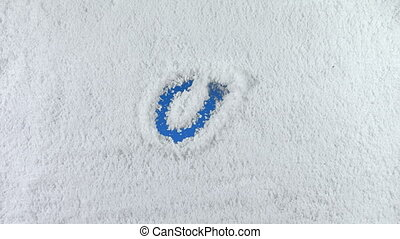 snow email - Email symbol drawn on snow background with...