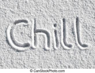 snow., escrito, escalofrío