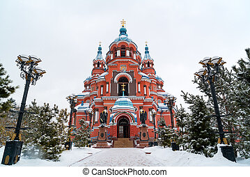 Snow fall at Cathedral of the Kazan Icon of the Mother of God