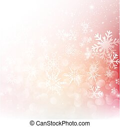 Snow fall with bokeh abstract red background vector illustration eps10