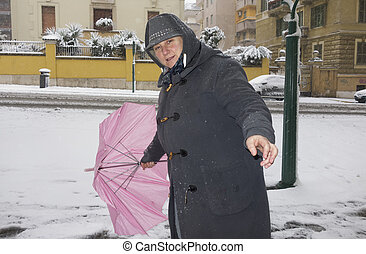 snow fall woman