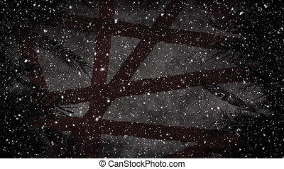 Animation of snow falling over dark crossed branches and leaves against a dark cloudy sky background. Abstract nature weather concept digitally generated image