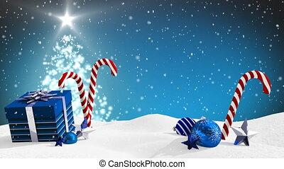 Snow falling and Christmas present