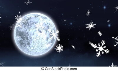 Snow falling and full moon